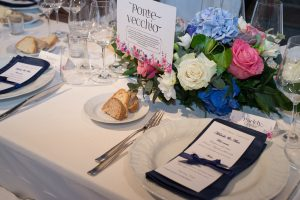 Rainy Wedding in Florence - blue menus ideas