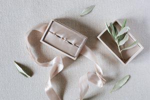 wedding rings in a satin box