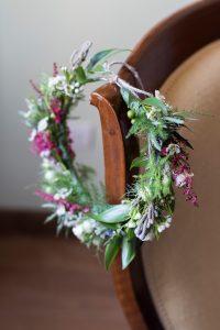 green wedding flowers crown