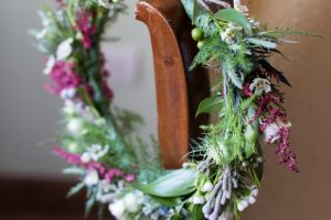 classy wedding in Florence - green and purple flowers crown