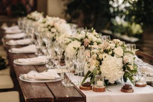 countryside wedding table flowers