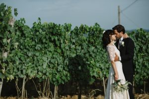 romantic destination wedding pictures in the vineyards