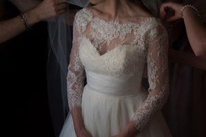 catholic wedding in tuscany - church wedding bridal gown