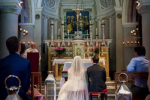 catholic wedding in tuscany - holy mass in a countryside old church
