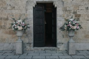 whimsical wedding in Tuscany - church decorations