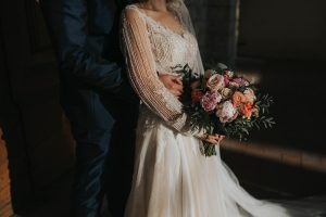 whimsical wedding in Tuscany - peony and english roses bride bouquet