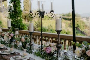 Jewish wedding Tuscany long table with chandelier