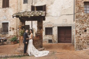A romantic elopment in Tuscany - nude lace wedding dress