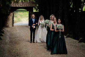 Romantic Castle wedding bridesmaids line up