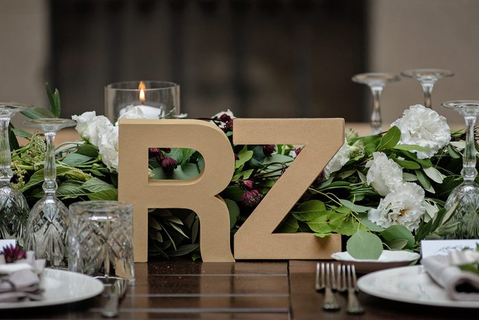 Romantic Castle wedding - couple initials for the main table