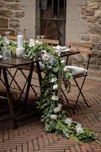 greenery and flowers for the wedding table - Romantic Castle wedding