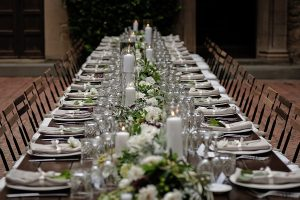 flowers runner with candles and seasonal flowers - Romantic Castle wedding