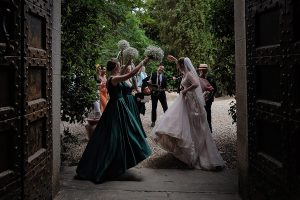 green dresses for the bridal party - Romantic Castle wedding