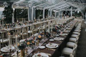 elegant wedding in Florence - long wedding table full of flowers