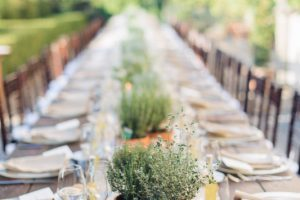 wedding decor with aromatic herbs and Italian terracotat vases - rustic minimalist wedding in Florence