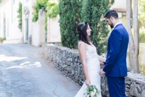 special moment before the rustic minimalist wedding in Florence