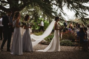 glamorous bride and her bridal party - romantic wedding in Chianti