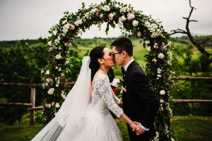 dream wedding in San Gimignano - peonies wedding arch