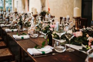 long table wedding flowers - dream wedding in San Gimignano