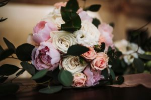 english roses and peonies bride bouquet in a dream wedding in San Gimignano