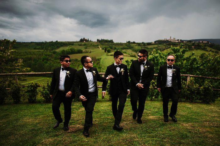 dream wedding in San Gimignano - groom and groomsmen dance