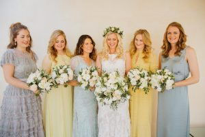 Spring wedding - bridesmaids' dresses in different pastels colours