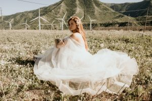 About Adelamour Bridal Shop - boho wedding gown - Beatris is stylish and trendy – light blush underlay compliments ivory soft tulle and every flower appliqué which are delicately stitched by hand