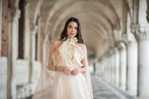 Romina Fochesatto - custom wedding gown - dyed pleated georgette skirt