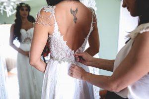 Romina Fochesatto - custom wedding gown - backless silk georgette gown