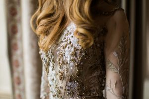 Romina Fochesatto - custom wedding gown - Vintage fitted wedding dress with gold colored details