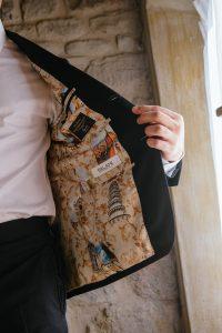 sparkling destination wedding - suit personally designed by Balani