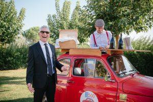 sparkling destination wedding - fiat 500 prosecco car