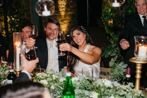 sparkling destination wedding - speeches at the table