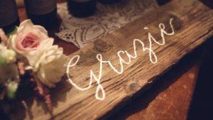 wooden wedding signs - calligraphy borad grazie