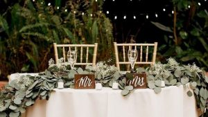 wooden wedding signs - calligraphy decoration for the bride and groom table