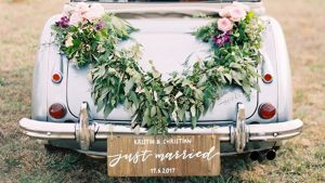 wooden wedding signs - calligraphy  sign just married