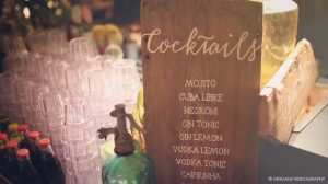 wooden wedding signs - calligraphy sign for the open bar