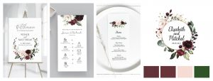 stationery design -paperie store burgundy palette