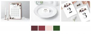 stationery design - Paperie Store - reception desing burgundy palette