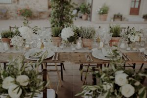 wedding baby bump - white flowers and herbs wedding table set up