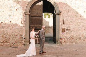 glamorous elopement Italy - first look in certaldo