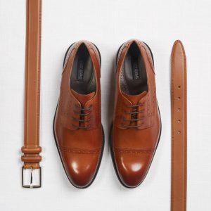 wedding suit - groom shoes and belt light brown