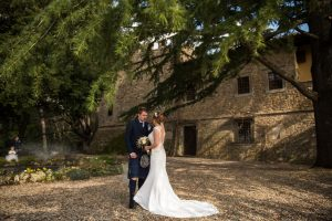 Scottish wedding - Wed in Florence - bride and groom taking private pictures in the castle's garden