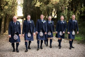 Scottish wedding - Wed in Florence - groom and groomsmen with family kilt