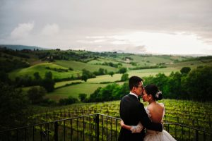 chinese wedding tuscany - wed in florence - couple's portraits overlooking the countryside of san gimignano