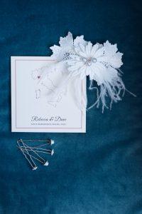 seaside wedding Italy - headpiece and invites