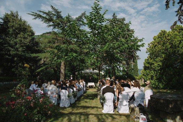 organic wedding - ceremony set up in the garden