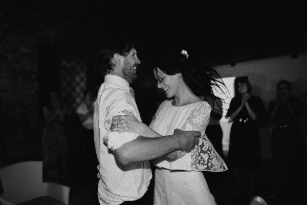 organic wedding - bride and groom dancing after dinner
