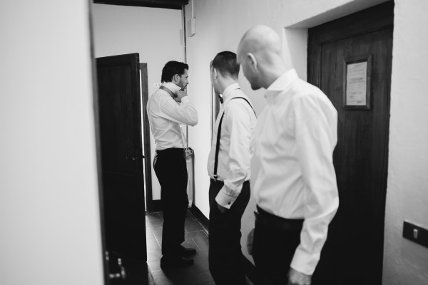 organic wedding - groom getting ready
